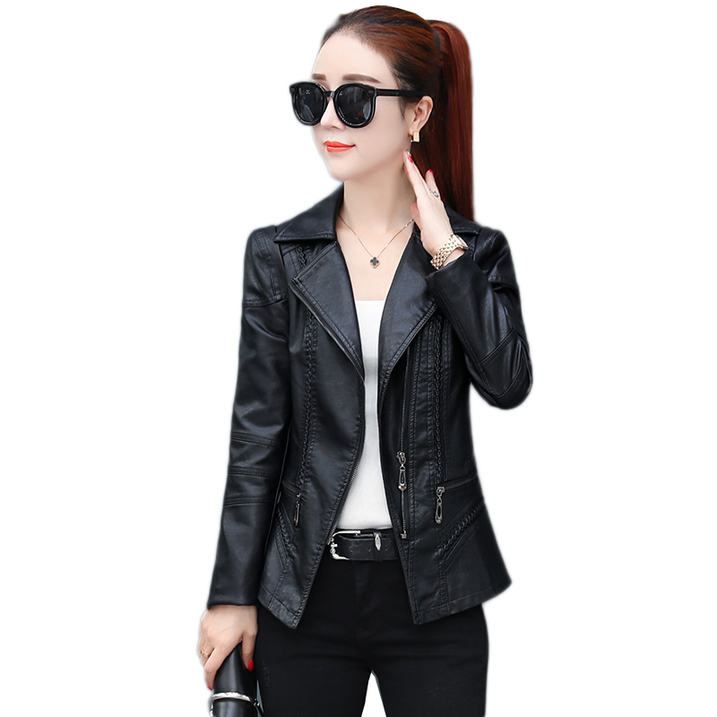M-3XL Motorcycle PU   Leather   Jacket Women Spring Autumn New Fashion Coat Black Zipper Outerwear jacket New 2019 Coat HOT NW1527