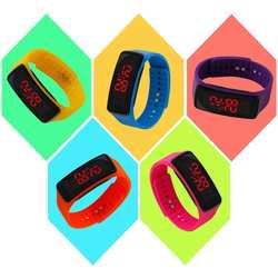 LinTimes для мальчиков и девочек простая детская силиконовые часы Electric светодиодный цифровой наручные часы орнаментом подарок
