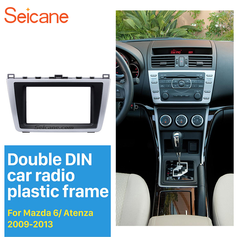 Seicane Double 2 <font><b>DIN</b></font> Car Radio DVD Stereo Fascia Panel Kit for <font><b>Mazda</b></font> <font><b>6</b></font> Audio Cover Face Plate Trim Installatiion Kit OEM no gap image