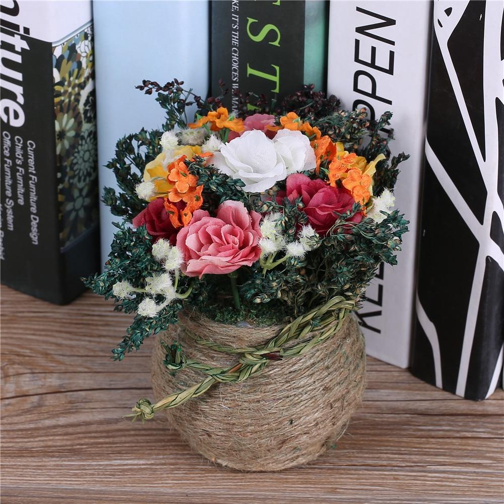 Tulokas! Halpa keinotekoinen kukka-asetelma Koristeellinen ruukkunut - Tavarat lomien ja puolueiden - Valokuva 4