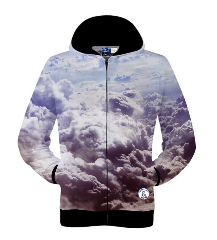 New Fashion 3D Print Sky Clouds Pattern Hoodies Sudaderas Hombre Winter Long Sleeved Sweatshirts Zipper Design Outerwear Tops