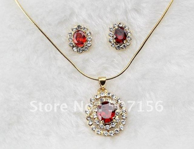 Fashion Jewelry Sets Set Flower Collection Garnet Red Color Post Earring Necklace Cubic Jewelry Time F01070063