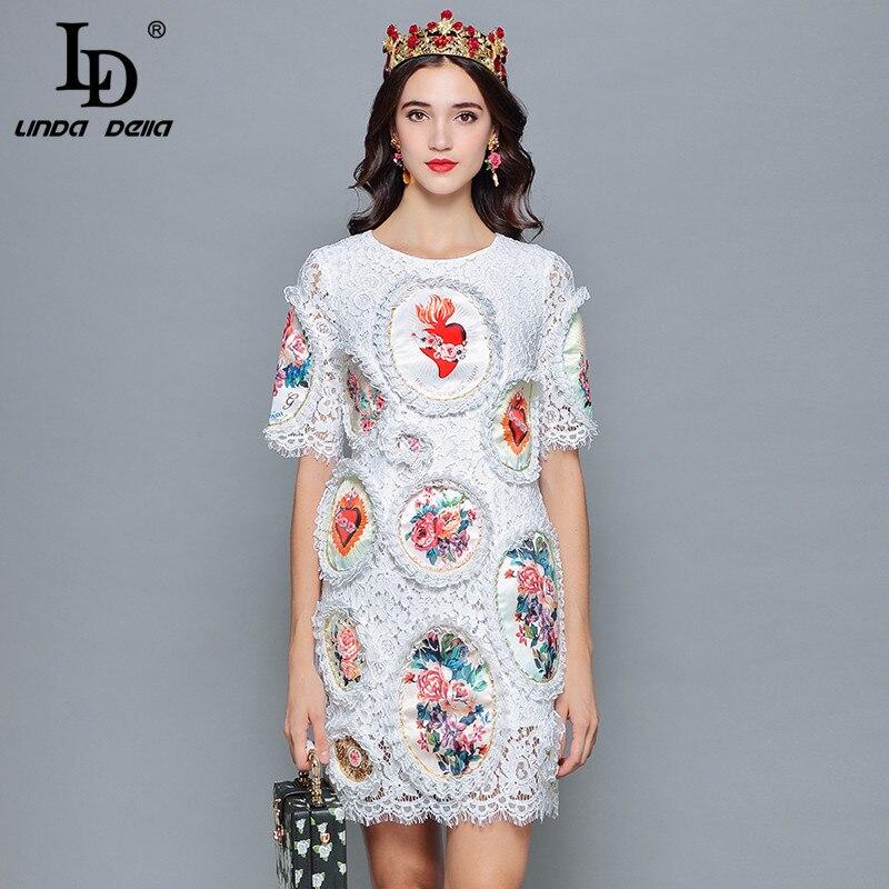 LD LINDA DELLA 2019 Fashion Designer Summer Dress Women s Short Sleeve Floral Print Mini Slim