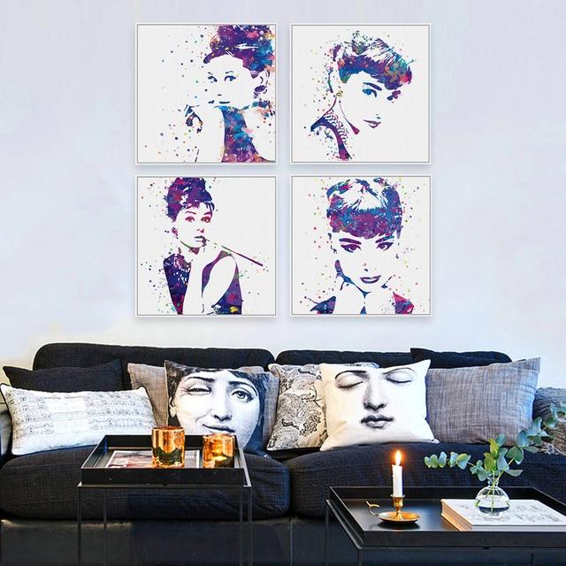 Original Watercolor Audrey Hepburn Movie Poster Prints Abstract Girl ...