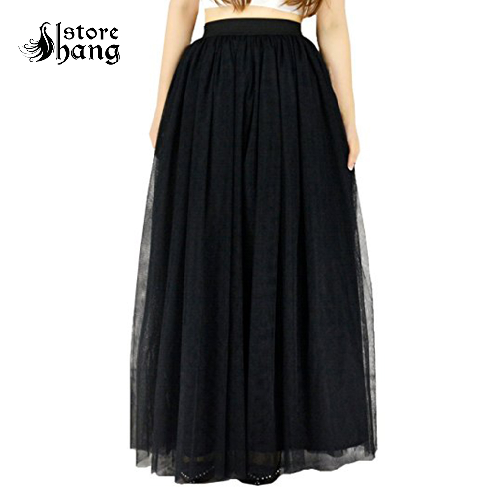 Women's Long Tulle Skirt 4 Layers High Waist A-Line Tutu Full Length Pleated Maxi Skirts Bridal Prom Party Skirt One Size