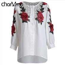 charMma Vintage Floral Embroidered Chiffon Blouse Shirt Women Top Tees 2017 Casual White Blouses Femme Blusas Button Shirt Tops