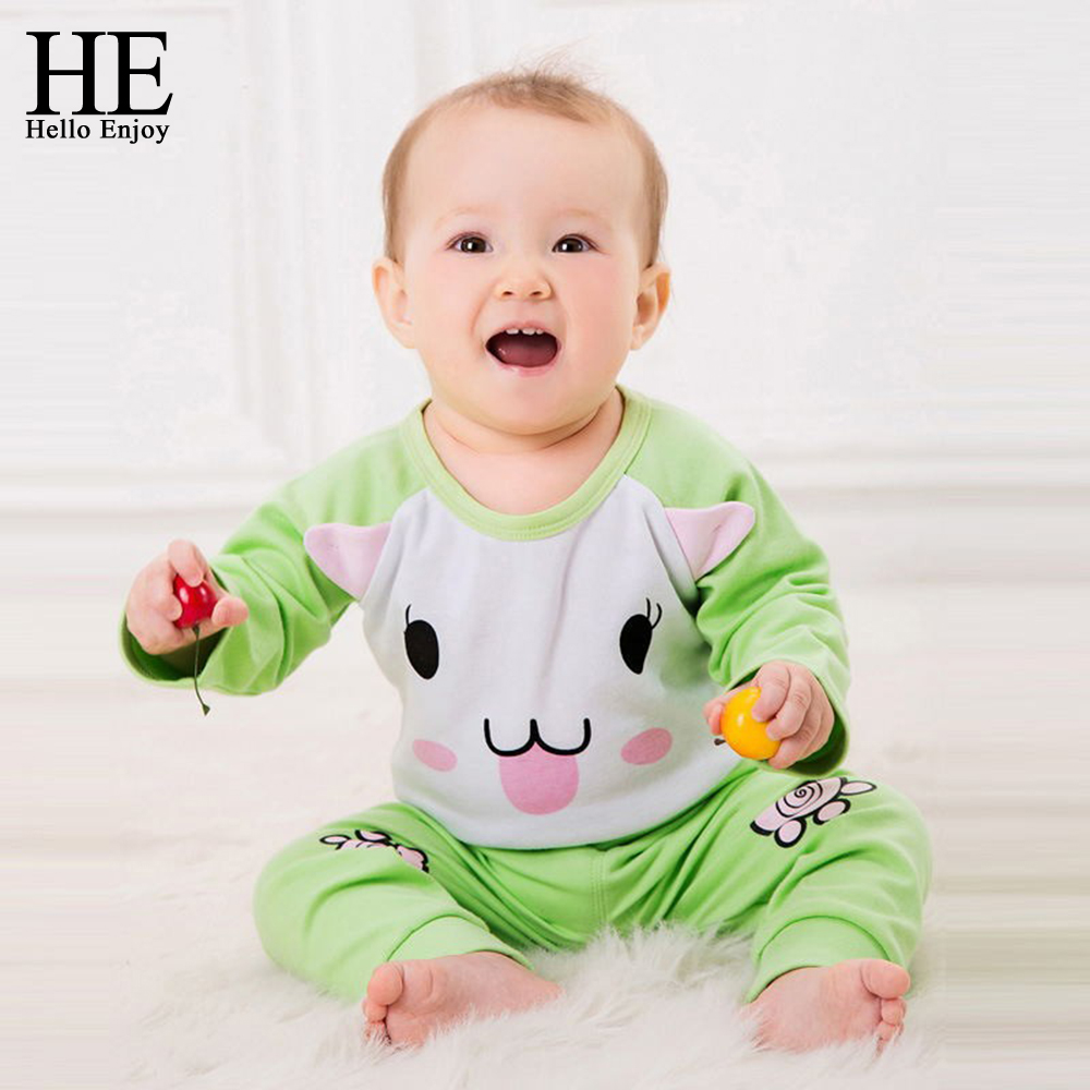 HE Hello Enjoy baby set spring autumn baby boys clothes long sleeve cartoon print romper+pants 2pcs suit baby girls clothes 2017 new cartoon pants brand baby cotton embroider pants baby trousers kid wear baby fashion models spring and autumn 0 4 years