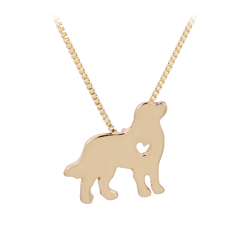 Pet Rescue Animal Lovers Jewelry Golden Retriever Necklace Silver Puppy Heart Dog Breed Pet Memorial Charms Choker Dropshipping