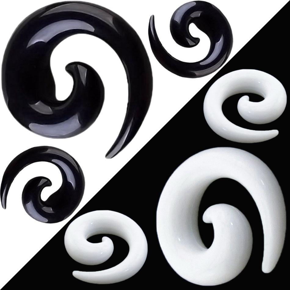 1 Para Acryl Ohr Verjüngt Ohr Spirale 2-20mm Ohr Stretching Piercing Körperschmuck Schwarz Weiß Gefälschte Ohr Expander Tunnel Kit Weich Und Rutschhemmend