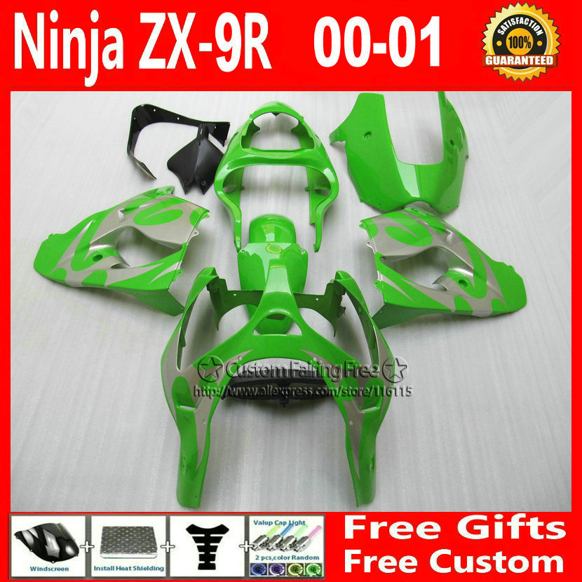 Best bodywork for Kawasaki Customize free right green fairing kit ZX9R 2000 2001 ZX 9R 00 01 Ninja customize bodykit+7Gifts compression mold bodykit for kawasaki fairing kits zx9r 2000 2001 zx 9r 00 01 ninja customize green purple body parts 7gifts