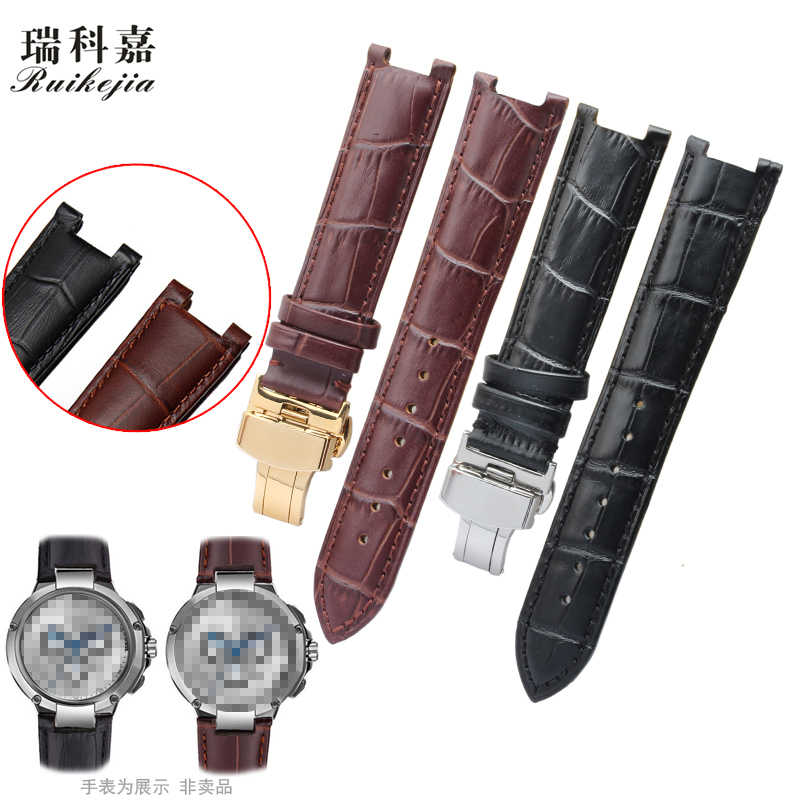High quality for guess watches strap notch 20 22mm gc butterfly buckle leather bracelet men and women watch belt free shipping