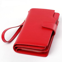 2017 Brand Design High Quality Genuine Leather Women Wallets Cell phone Card Holder Long Lady Wallet Purse Clutch