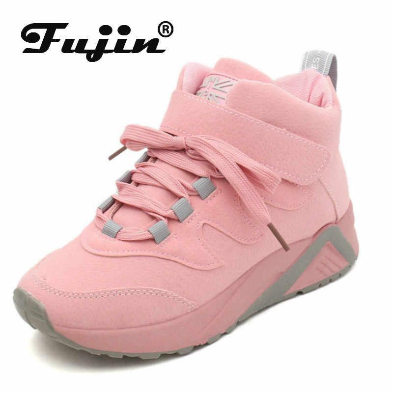 Fujin; женские кроссовки для отдыха; Прямая поставка; бархатная обувь с высоким берцем; Сезон Зима; Теплая Повседневная обувь из толстого хлопка для студентов
