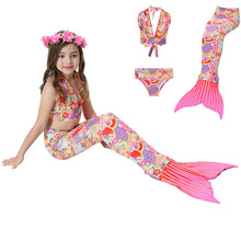 acb0b33350 Colorful Mermaid Tail 3pcs 4pcs /set for Swimming Costume Anime Cosplay  clothing Girls Swimsuit Children Swimwear Bathing suit