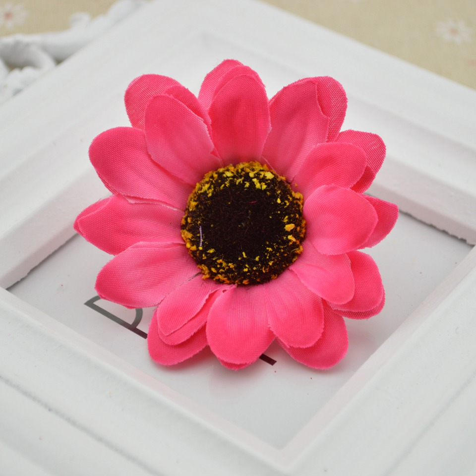 5pcs Large Silk Sunflower Artificial Flower Head For Wedding Car ...