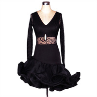 Adult/Child Latin Dance Dress Black/Rose Cha Cha/Rumba Women/Girls Sex Dance Costume Lace Lulu Skirt Vestido De Baile Latino