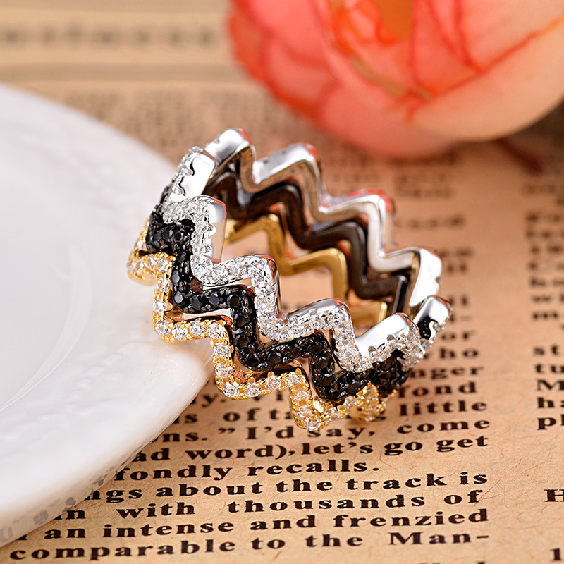Fashion Wavy Full AAA Zircon Ring Elegant And Simple Combination Wedding Rings For Women ZK50