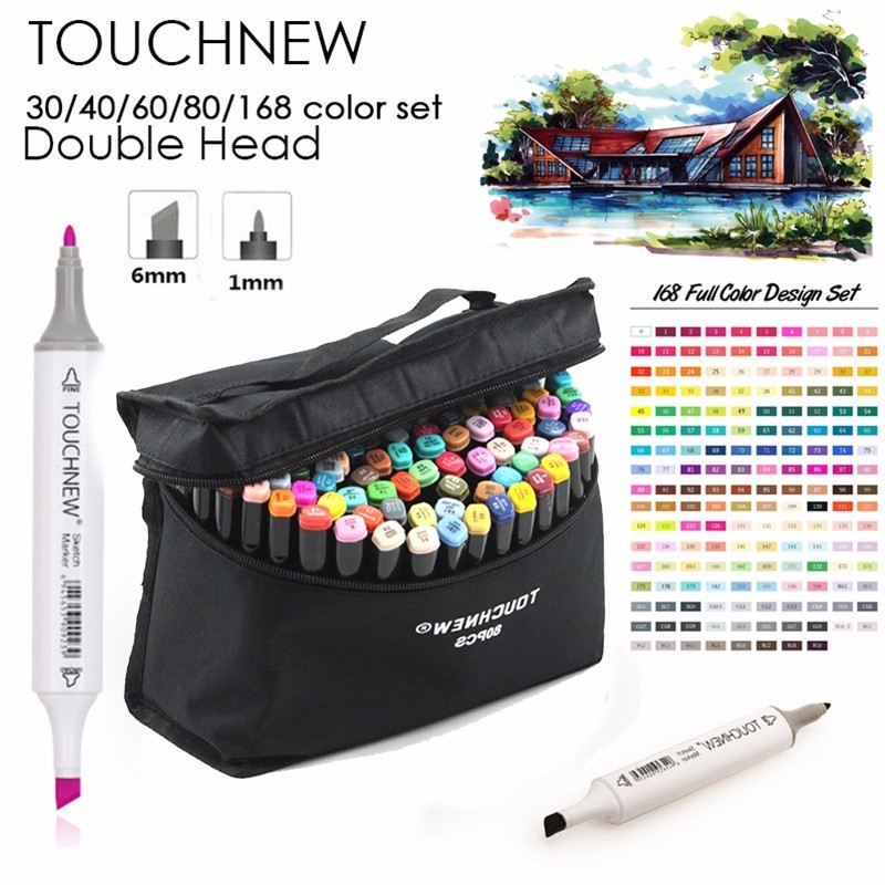 TOUCHNEW Marker Professional Art Markers Set Double-headed Alcohol based Markers Art Hand-painted For School Supplies promotion touchfive 80 color art marker set fatty alcoholic dual headed artist sketch markers pen student standard
