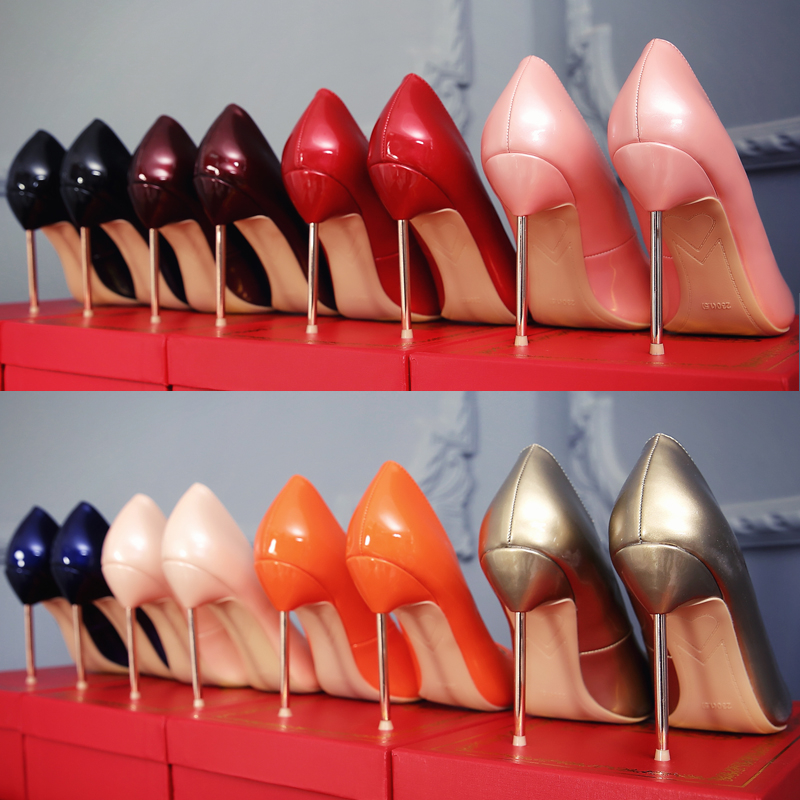 Pumps Women Shoes 2019 New Red High Heels Patent Leather Sexy Metal Stiletto Fenty Beauty Ladies
