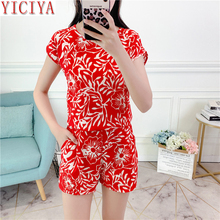 YICIYA red short 2 piece set women pant and top outfit tracksuit sportswear fitness co-ord summer 2019 print pcs clothing