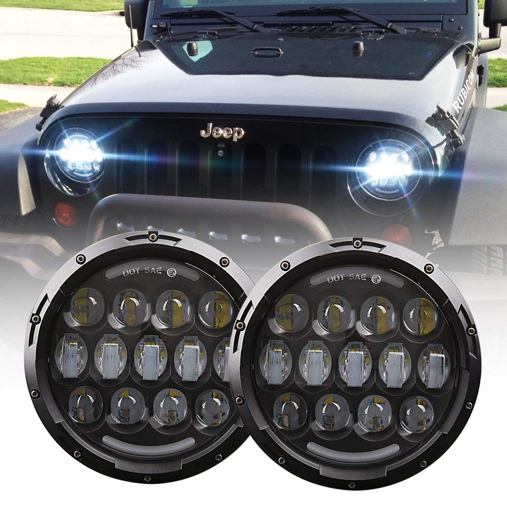 80W 7 inch Round LED Headlight with DRL High Low Beam for Jeep Wrangler 97-2017 JK TJ LJ JKU Rubicon Sahara Hummer H1 H2 цена