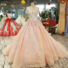 Greenspine Floral Pink Weding Spaghetti Straps Dresses Gown