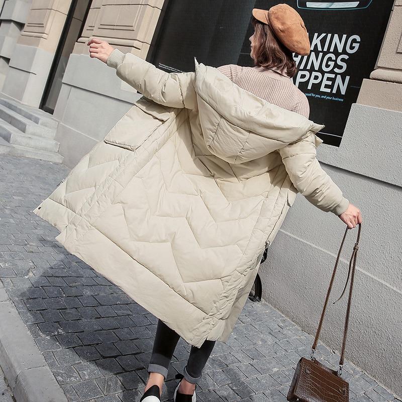 2018 Sand Moyen D'hiver Rembourré Solide Coréenne Style Longueur golden bean Manteau Femme Couleur black Épais Femmes A372 rice Le Green White Bean Parka Vêtements Bas Vers Coton PwaOPR8nA