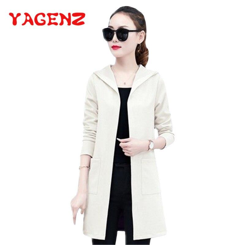 YAGENZ Tops Trench-Coat Windbreaker Spring Women Loose-Pocket Autumn Korean Fashion Thin