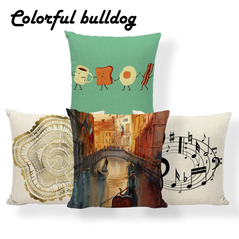 Cushion Cover Romantic Blue Christmas Cushion Cover Landscape Pattern Home Sofa Car Decoration Pillowcase Chair Covers Home Textile