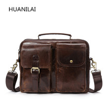 HUANILAI Mens Bags Genuine Leather Messenger For Men Business Briefcases Shoulder Handbags Crossbody