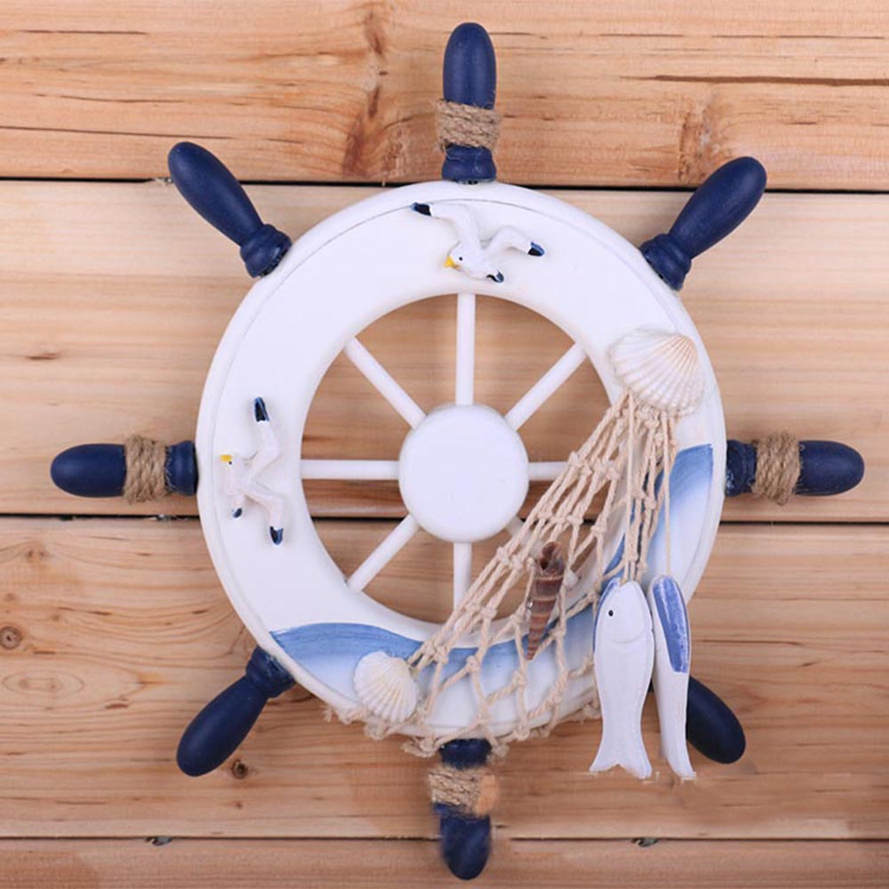 Ornamentali Impiccagioni Casa Nautica Marine Nave Pirata Home Decor Artigianato del Legno Timone Ruota Decorazione Della Parete Per Ragazzi Camera Dei Bambini