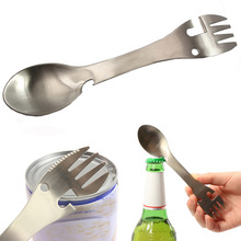 5 in1 Multifunctional Camping Equipment Cookware Spoon Fork Bottle Opener Portable Tool Outdoor Tableware Kitchen tools