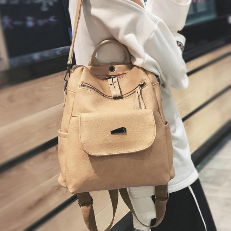 Women Backpack Female 2018 New Fashion Soft Multi-function Street Trend Black Lady Backpack Casual Pu Leather Shoulder Bag Girls