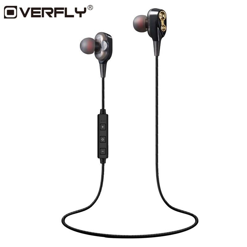 Sobrevuelan doble dinámica auriculares Bluetooth Doble controlador con micrófono auriculares estéreo para el teléfono móvil deportes