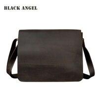 Черный Ангел винтажная Crazy Horse кожаная мужская сумка мессенджер из воловьей кожи через плечо деловая Повседневная сумка