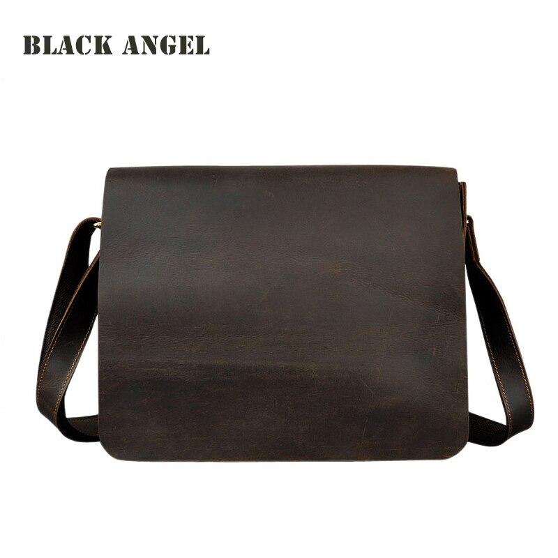 BLACK ANGEL Vintage Crazy Horse Leather Mens Messenger Bags Cowhide Leather Shoulder Crossbody Bag Business Casual Bag