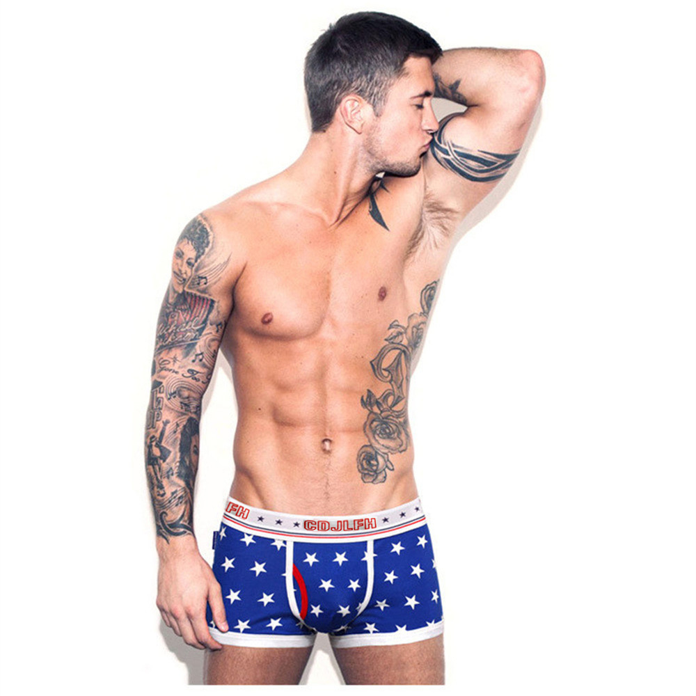 2017 New Europe and America Mens Cotton Boxer Shorts Panties Fashion Sexy Men Boxer Underwear Male Boxers Shorts Underpants