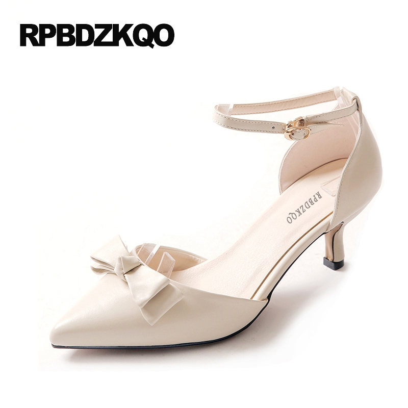 Size 33 4 34 High Heels Bow Casual Shoes Women Beige Sandals Pointed Toe Medium Kitten 2017 China Ankle Strap Pumps Japanese sandals metal strap pumps square toe beige vintage medium 2017 women shoes high heels size 33 slingback belts block chinese