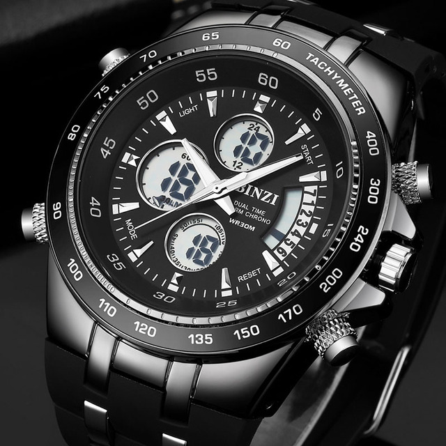 Fashion Luxury Brand Men Waterproof Military Sports Watches Men's Quartz LED Digital Leather Wrist Watch relogio masculino