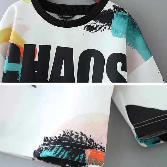 2016 Summer New Shirt Women Tops Lettering Graffiti Printed Crop Top Loose 3/4 Sleeved Blouses & Shirts