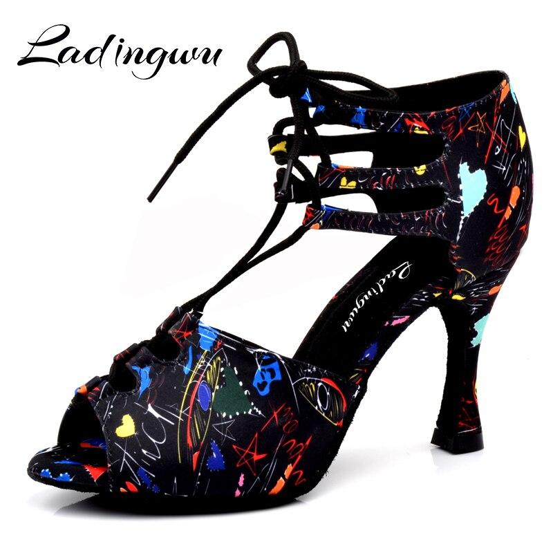 Ladingwu New Girl Dance Shoes Floral Satin Lace-up Shoes Latin Dance Shoes Women Samba Party Ballroom Soft Bottom Shoes Size