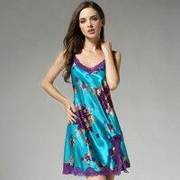 women silk sleepshirts 2019 summer woman fashion brand flower print sexy lace pure silk nightgowns sleepwear lounge Homewear
