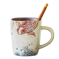 hot 330ml Vintage Ceramic Custom mugs Chinese Style Creative mugs with Wooden Spoon Coffee Premium Gift mugs