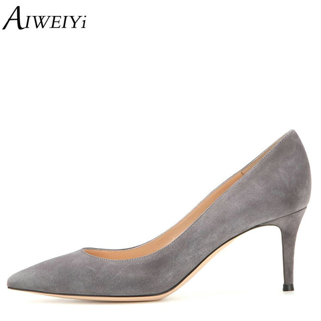ad8f4c4be7 AIWEIYi Women Shoes Med Heels 6.5CM Black Grey Pumps Kitten Heels Shoes For  Women Ladies Wedding Party Shoes Platform Heels