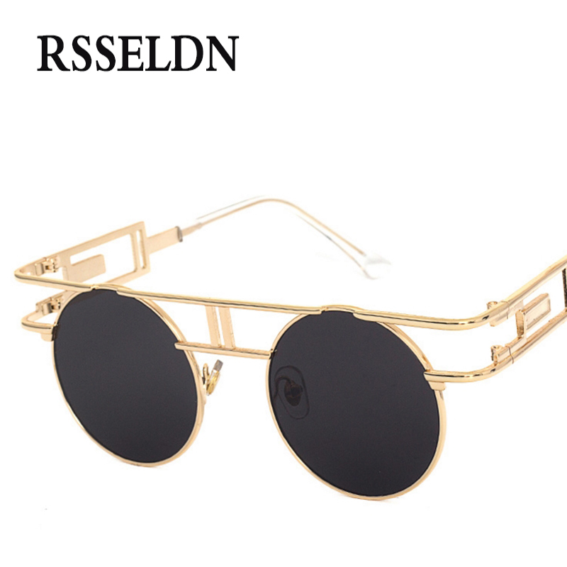 Rsseldn 2018 nuevo Steampunk Gafas de sol mujer diseñador de marca gótico Sol gafas UV400 oculos de sol feminino vintage