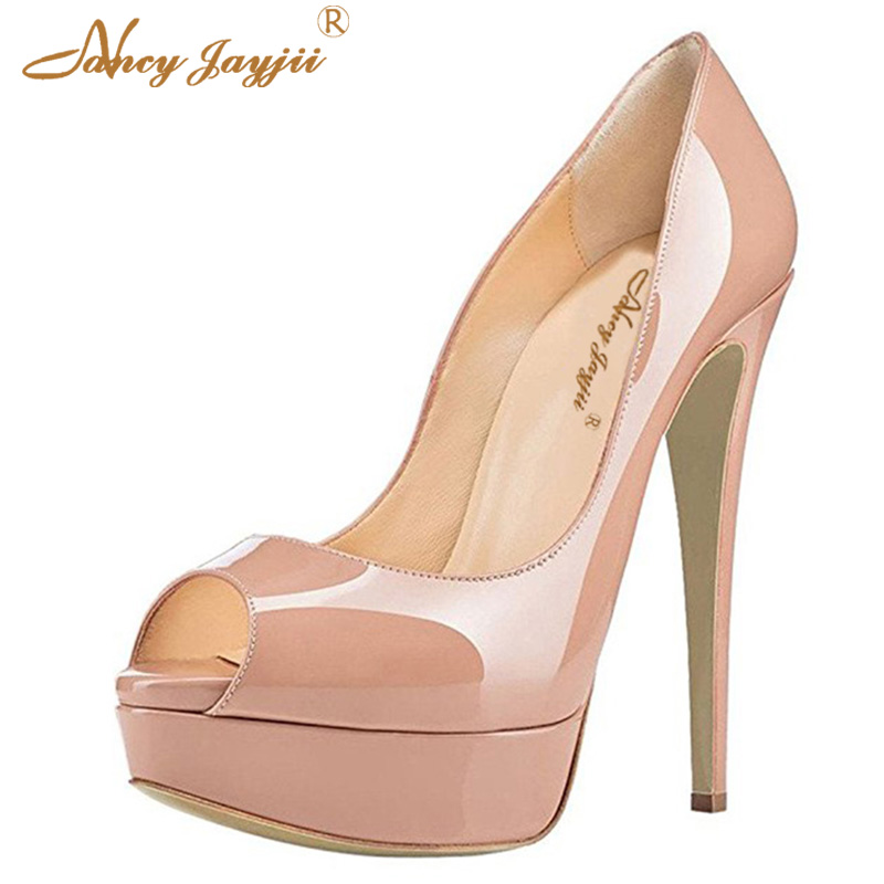 864245c90df US $57.08 24% OFF|2018 Nude Pink Red Bottom Pumps Woman Shoes Ladies Modis  Classic Platform Stilettos Super High Heel Brand Autumn Plus Size 44 45-in  ...