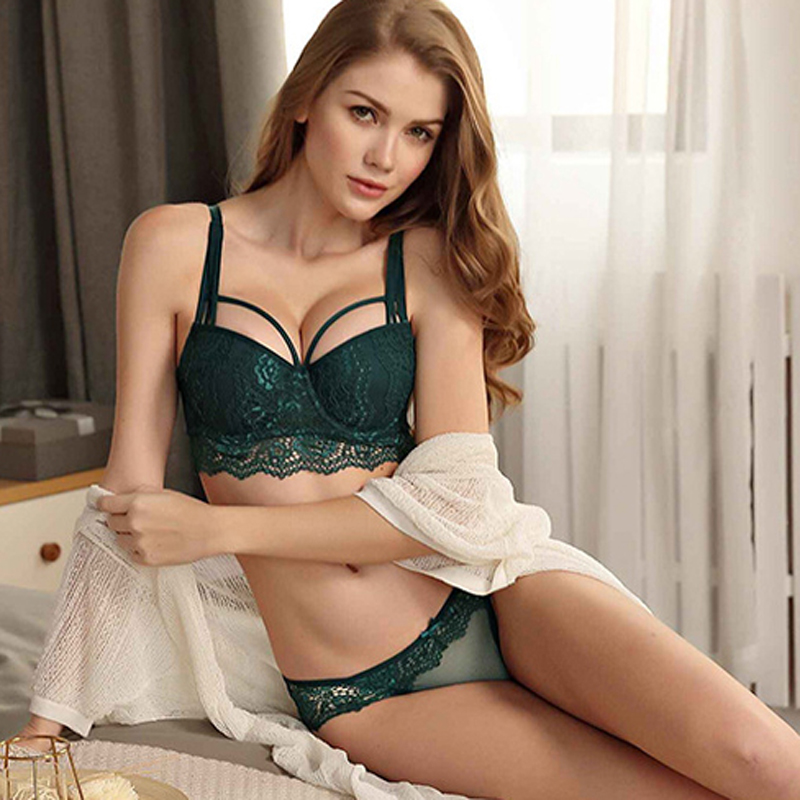 New Sexy Lace Thin Cup Bandage Lingerie Set Charm Seduction Push Up Underwear Women Elegant Breathable Panties Bra Set Bra & Brief Sets
