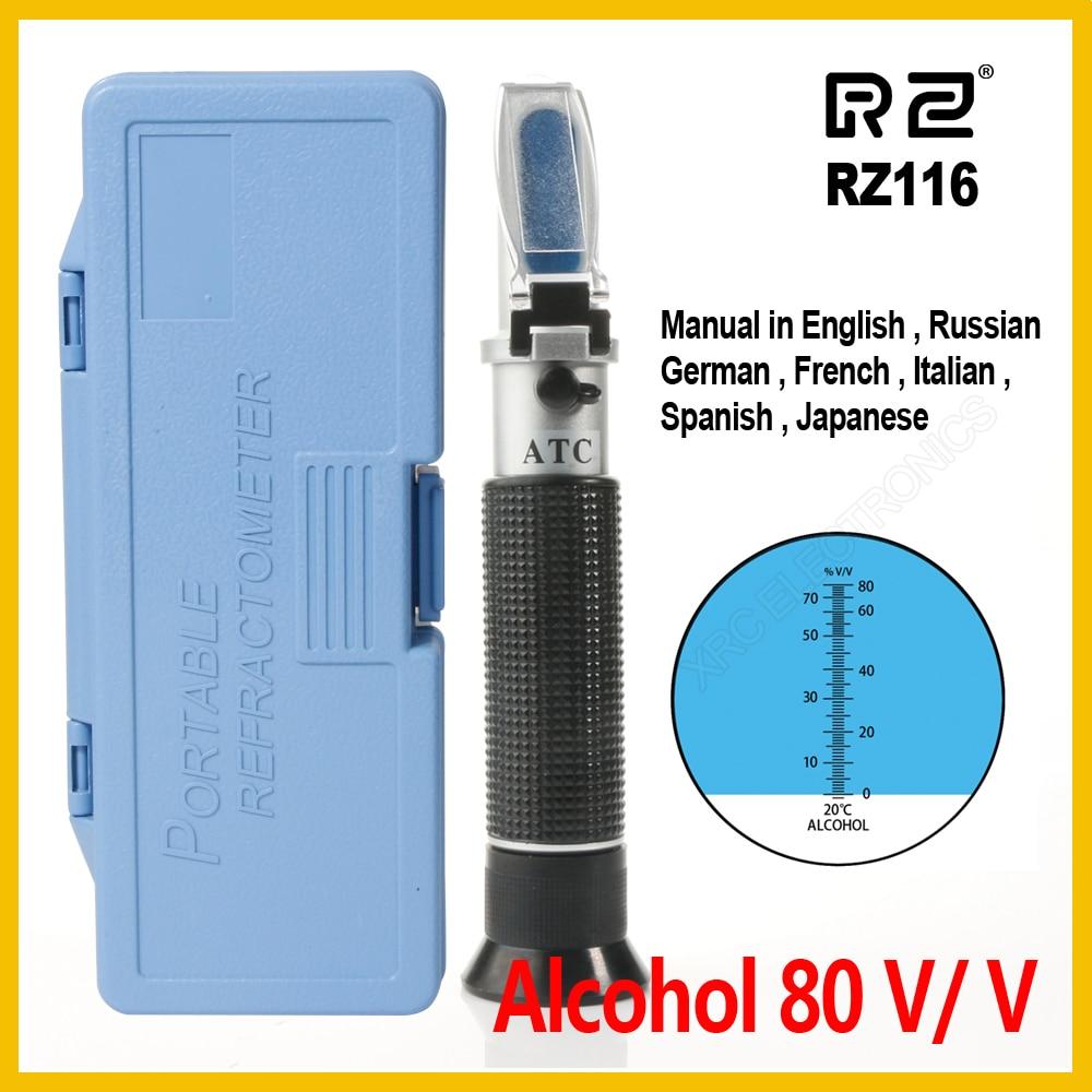 RZ L'emballage de Détail Réfractomètre D'alcool Alcoomètre mètres 0 ~ 80% V/V ATC Outil Densimètre RZ116 concentration esprits testeur
