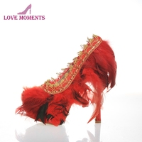 Handmade Feather Women High Heel Shoes Red Sexy Nightclub Prom Event Pumps Wedding Party Bridal Shoes Plus Size