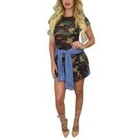 New Summer Fashion Slim Female Dresses Women Ladies Sexy Short Sleeve O- Neck Print Camouflage Mini Dress